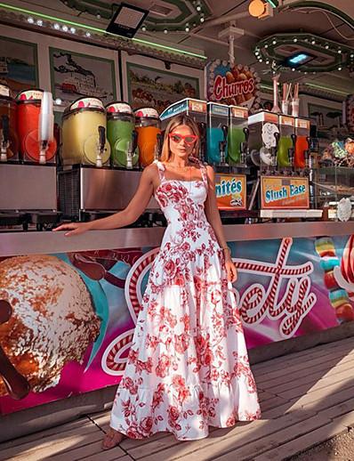 cheap SALE-Women's Maxi Sheath Dress - Sleeveless Floral Strap Slim White S M L XL