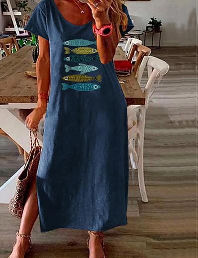 cheap DRESSES-Women's Shift Dress Midi Dress - Short Sleeves Animal Summer V Neck Work Loose 2020 Blushing Pink Green Navy Blue L XL XXL XXXL XXXXL XXXXXL