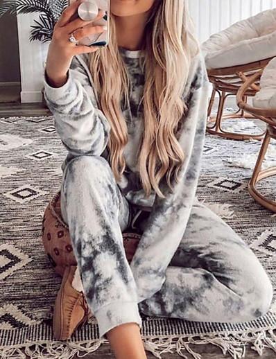 cheap Two Piece Set-Comfy Tie-Dye One Piece Pajamas