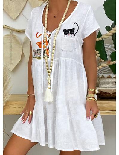 abordables #EXCLUSIVE-Femme Robe Trapèze Robe Longueur Genou Manches courtes Eté - Simple Chinoiserie Animal 2020 Blanche S M L XL XXL XXXL
