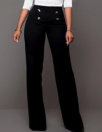 abordables Bas-Femme basique Mince Chino Pantalon Couleur Pleine Blanche Noir Bleu