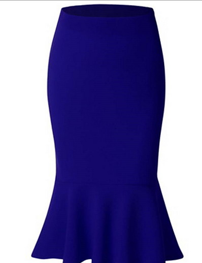 cheap Women's Bottoms-Women's Daily Wear Basic Bodycon Skirts Solid Colored Black Red Royal Blue