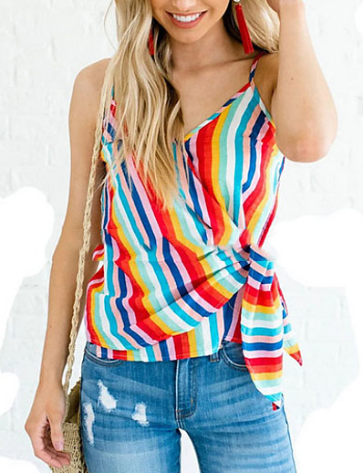 cheap Print T-Shirts-Women's Camisole Striped Rainbow Print V Neck Tops Basic Top Rainbow