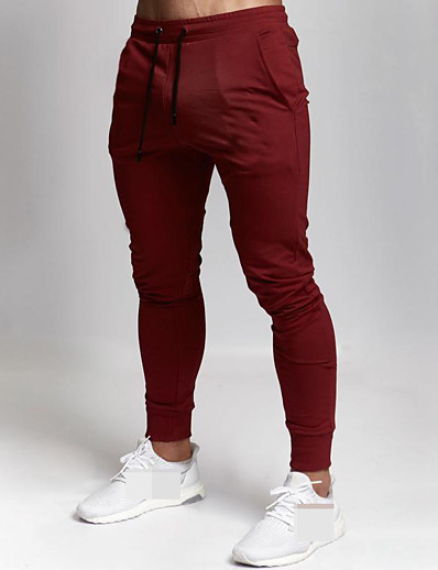 cheap Running, Jogging & Walking-Men's Sweatpants Joggers Track Pants Sports & Outdoor Athleisure Wear Bottoms Drawstring Winter Running Walking Jogging Training Moisture Wicking Breathable Soft Sport Solid Colored Black Red Dark