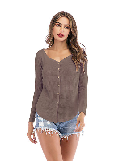 cheap CLOTHING-Women's Solid Colored Long Sleeve Cardigan Sweater Jumper, V Neck Summer / Fall Wine / White / Khaki S / M / L