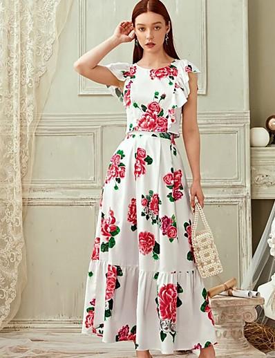 abordables Robes élégantes-Femme Basique Blouse - Fleur, Imprimé Jupe