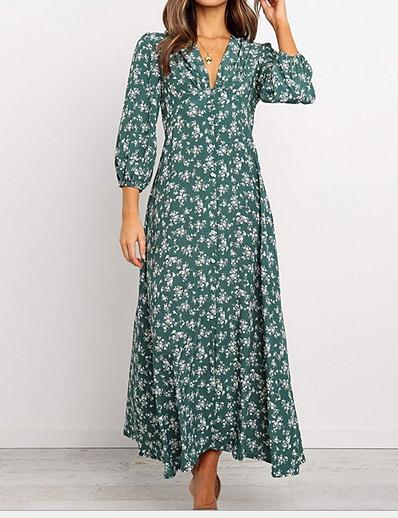 cheap 05/13/2020-Women's Swing Dress - Long Sleeve Geometric V Neck Green Navy Blue S M L XL