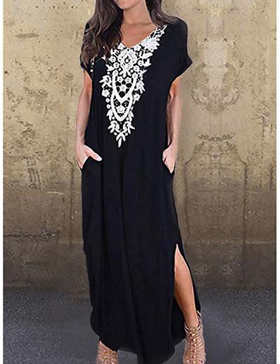 cheap SALE-Women's T Shirt Dress - Geometric Black Blue Green S M L XL