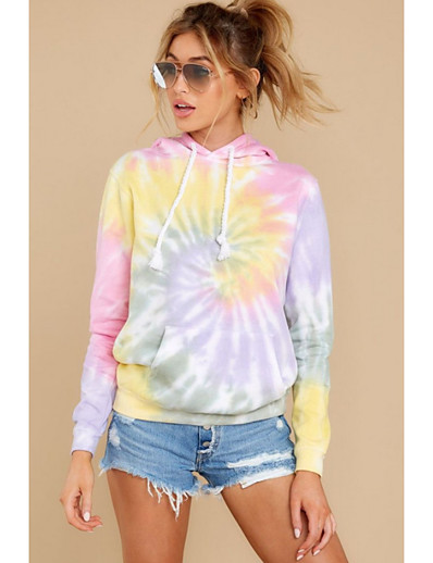 cheap Print T-Shirts-Women's Hoodie Tie Dye Basic Rainbow S M L XL XXL