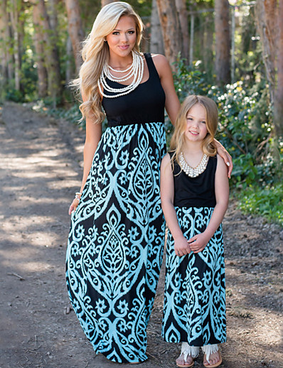 cheap Family Matching Outfits-Mommy and Me Sweet Boho Floral Color Block Print Sleeveless Maxi Dress Blue