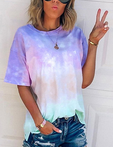 cheap Print T-Shirts-Women's T-shirt Tie Dye Round Neck Tops Casual Basic Top Blue Purple Blushing Pink