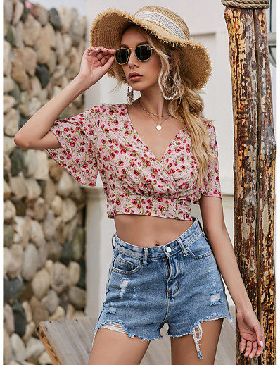 cheap Crop Top-Women's Floral Blouse Basic Beach Holiday Going out V Neck Blushing Pink