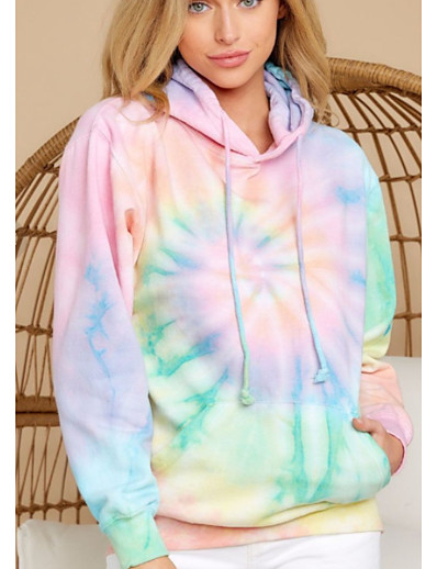 cheap Hoodies & Sweatshirts-Women's Pullover Hoodie Sweatshirt Tie Dye Basic Hoodies Sweatshirts  Rainbow