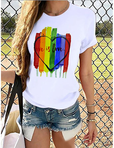 cheap TOPS-Women's Rainbow Graphic Pride Day Print T-shirt Basic Casual / Daily White