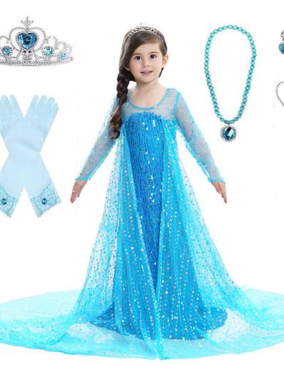 cheap Movie & TV Theme Costumes-Princess Elsa Dress Flower Girl Dress Girls' Movie Cosplay A-Line Slip Pattern Dress Vacation Dress White Blue Pink Dress Children's Day Masquerade Sequin Cotton Voile