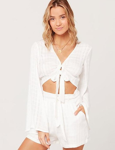 cheap Two Piece Set-Summer Trumpet Sleeve One Piece Sets