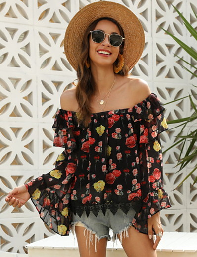 cheap TOPS-Women's Floral Blouse Daily Off Shoulder Black