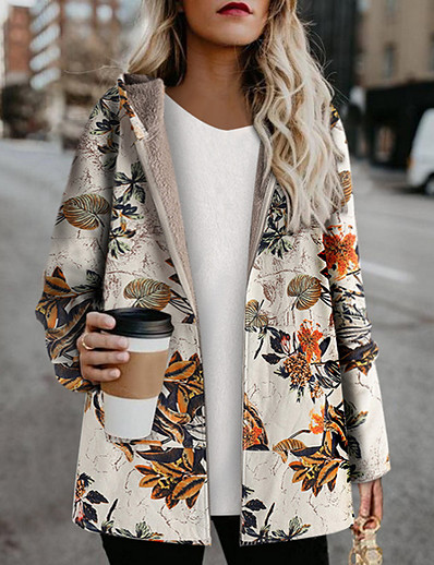 cheap Down& Parkas-Women's Parka Daily Fall Winter Regular Coat Regular Fit Casual Jacket Long Sleeve Solid Color Zipper Fuchsia Orange