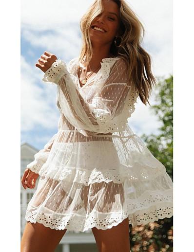 cheap Summer Dresses & Boho-Women's Sundress Dress - Long Sleeve Solid Color Summer V Neck Elegant Loose 2020 White S M L XL