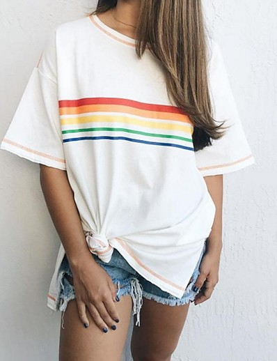 cheap Print T-Shirts-Women's Daily T-shirt Striped Short Sleeve Loose Tops White