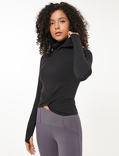 abordables Hauts-Femme Yoga Top Trou de pouce Portefeuille Couleur unie Noir Grise Bleu Nylon Yoga Course / Running Fitness Hauts / Top Manches Longues Sport Tenues de Sport Respirable Séchage rapide Confortable