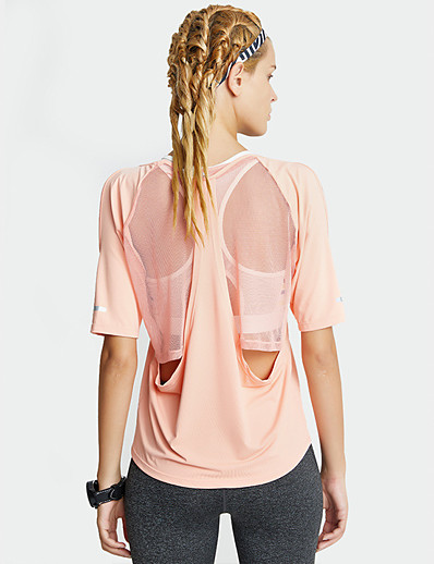 cheap Exercise, Fitness & Yoga-Women's Young Girl Yoga Top Patchwork Fashion Black Pink Mesh Elastane Yoga Running Fitness Tee / T-shirt Top Short Sleeve Sport Activewear Breathable Quick Dry Comfortable Micro-elastic