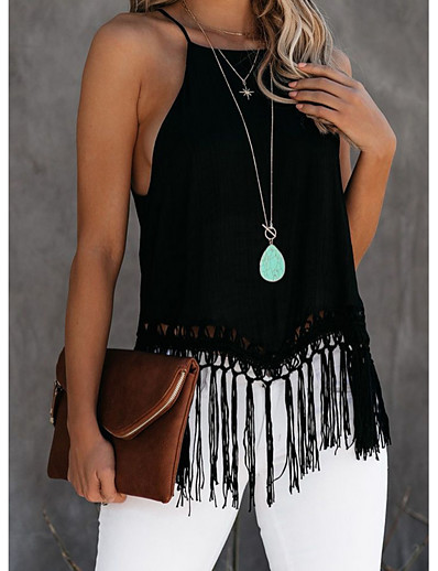 cheap Tank Tops-Halter tassel Tank Top