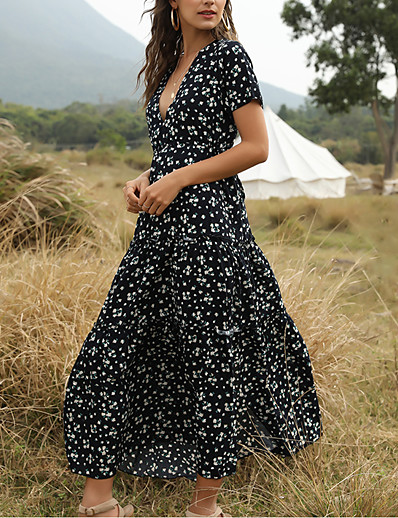 cheap Summer Dresses & Boho-Women's Maxi Swing Dress - Short Sleeve Floral Print Summer Deep V Vacation White Blue Green S M L XL