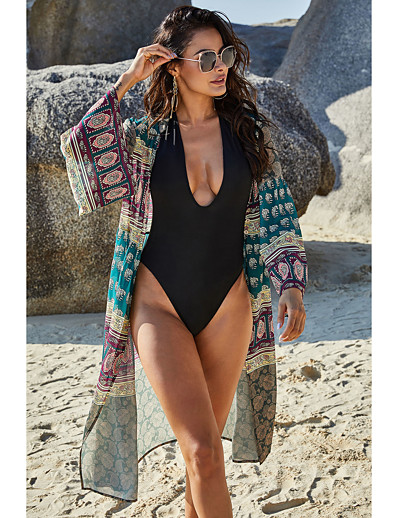 cheap SWIMSUIT-Women's Basic Green Cover-Up Swimwear Swimsuit - Tribal Print Breathable S XXL Green