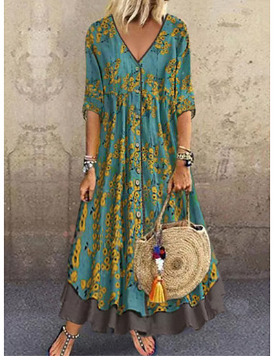 cheap Maxi Dresses-Women's Plus Size Maxi A Line Dress - Half Sleeve Floral Layered Button Print Spring & Summer Deep V Casual Holiday Vacation Loose 2020 Red Green Gray M L XL XXL XXXL
