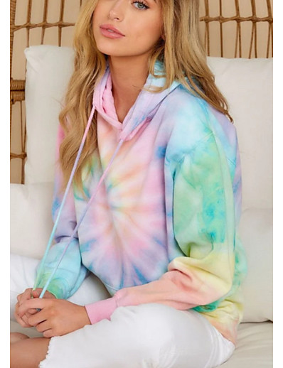 cheap Tees & T Shirts-Women's Hoodie Tie Dye Basic Rainbow S M L XL XXL