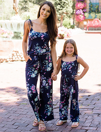 cheap Family Matching Outfits-Mommy and Me Vintage Sweet Floral Print Drawstring Sleeveless Maxi Overall & Jumpsuit Navy Blue