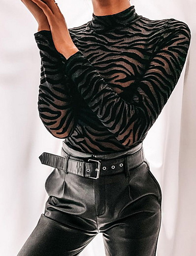 cheap Blouses & Shirts-Women's Bodysuit Solid Colored Long Sleeve Tops Black