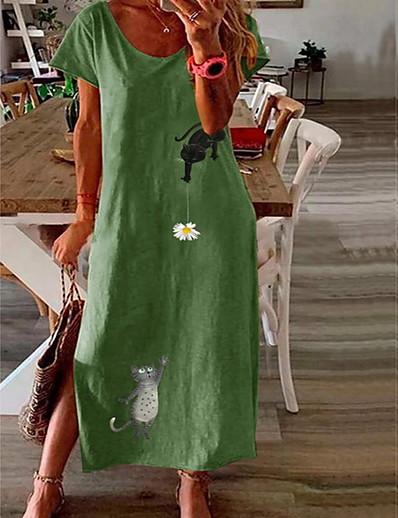 cheap DRESSES-Women's A-Line Dress Maxi long Dress - Short Sleeves Floral Summer Casual 2020 Blushing Pink Green Navy Blue L XL XXL XXXL XXXXL XXXXXL