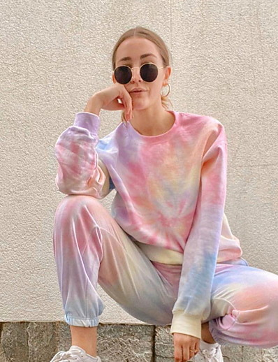cheap Two Piece Set-Summer Tie Dye Rainbow One Piece Sets (Pajamas)