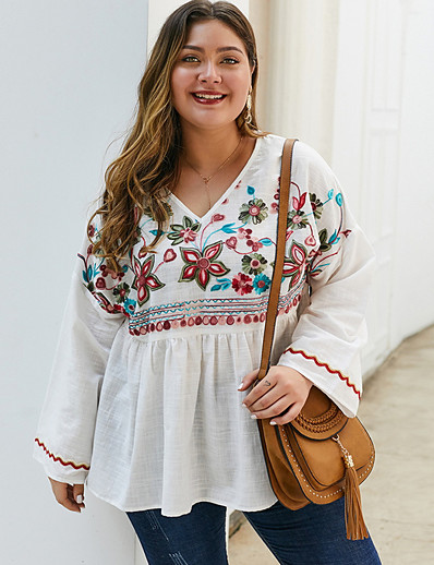 cheap Plus Size Tops-2020 SUMMER V-Neck Boho Top PLUS SIZE