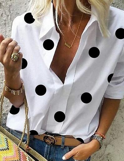 preiswerte Blusen & Hemden-Damen Bluse Hemd Punkt Muster Langarm V-Ausschnitt Oberteile Weiß Gelb Leicht Blau