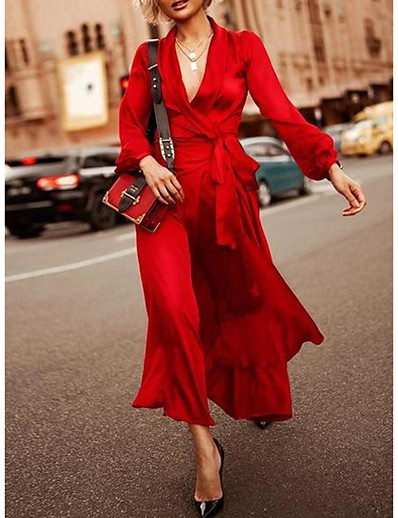 cheap Elegant Dresses-Sheath / Column Elegant Maxi Holiday Formal Evening Dress V Neck Long Sleeve Ankle Length Spandex with Sash / Ribbon 2020