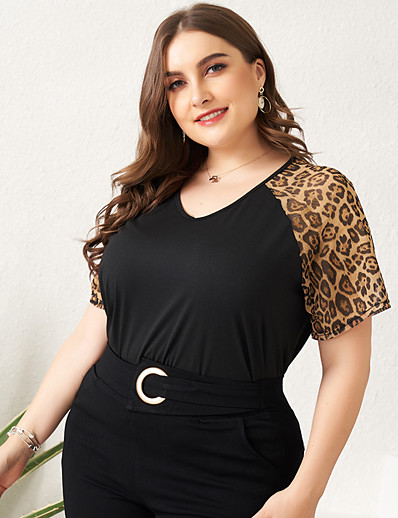 cheap Plus Size Tops-Women's Daily Plus Size Blouse Leopard Mesh Patchwork Short Sleeve Loose Tops Basic Black / Holiday