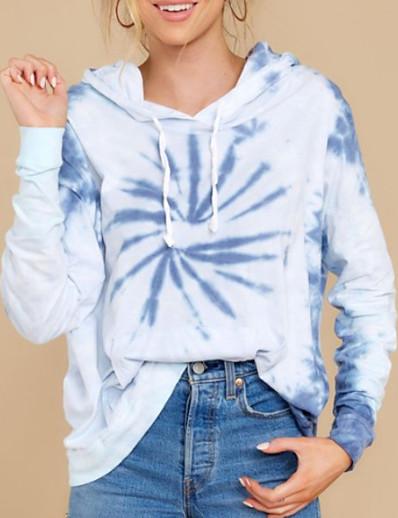 abordables Sweats à capuche & sweat-shirts-Femme Sweat à capuche Teinture par Nouage Basique Bleu clair S M L XL XXL