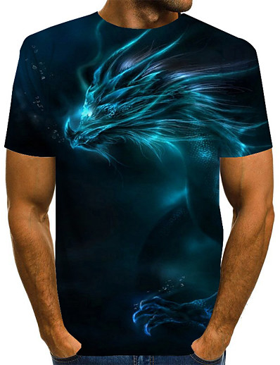 cheap MEN-Men's Daily T-shirt Graphic 3D Print Print Short Sleeve Tops Basic Exaggerated Round Neck Blue Purple Red