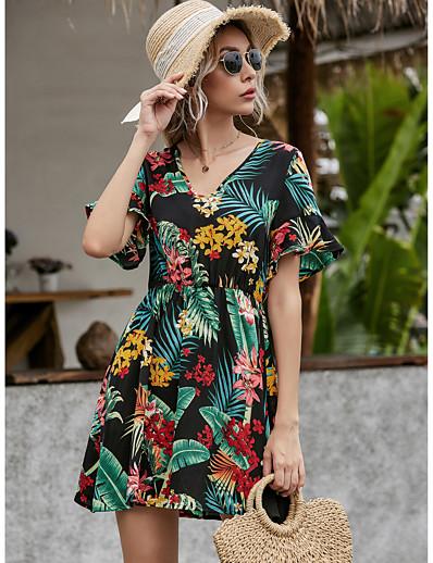 cheap Summer Dresses & Boho-Women's Sundress Tropical Leaf Short Mini Dress - Short Sleeves Floral Ruffle Summer Elegant Mumu 2020 Green S M L XL