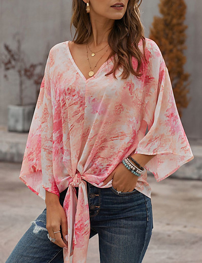 cheap Print T-Shirts-Women's Blouse Shirt Tie Dye Print Asymmetric Knotted V Neck Tops Puff Sleeve Basic Top Red Light Blue