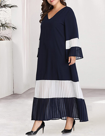 cheap Plus Size Dresses-Women's Kaftan Dress Maxi long Dress - Long Sleeve Blue & White Black & Red Color Block Solid Color Pleated Patchwork Basic V Neck Casual Daily Flare Cuff Sleeve Loose Black Blue XL XXL XXXL XXXXL