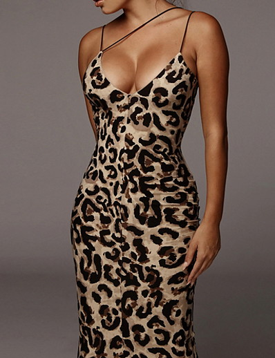 abordables Robes moulantes-Femme Robe à Bretelles Robe Maxi longue Sans Manches Léopard Animal Eté chaud Sexy 2021 Kaki Marron S M L