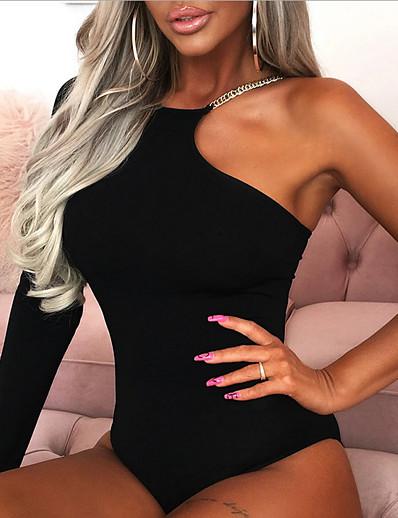 cheap Blouses & Shirts-2020 SUMMER Sexy Irregular Collar Single Shoulder Slim Bodysuit