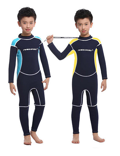cheap SPORTSWEAR-Boys' Full Wetsuit 2.5mm SCR Neoprene Diving Suit Long Sleeve Back Zip Knee Pads Solid Colored Autumn / Fall Spring Summer / High Elasticity / Kids