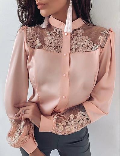 preiswerte Tops in Übergröße-Damen Bluse Hemd Solide Langarm Bestickt Blumig Gitter Rundhalsausschnitt Oberteile Basic Top Rosa / Satin / Spitze