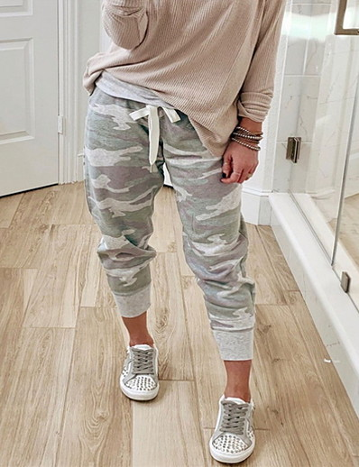 cheap WOMEN COLLECTION-Women's Basic Loose Sweatpants Pants Print Gray S M L