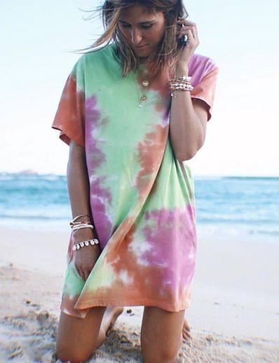 cheap Print T-Shirts-Women's Sheath Dress Short Mini Dress - Short Sleeve Geometric Summer Casual 2020 Rainbow S M L XL XXL